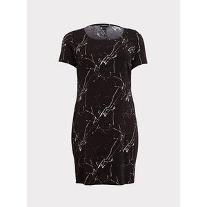 BLACK MARBLE CHALLIS T-SHIRT DRESS